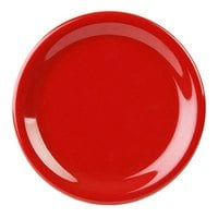9 inch Pure Red Narrow Rim Melamine Plate - 12/Pack