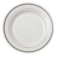 Fineline Silver Splendor 510WH White 10 inch Plastic Plate with Silver Bands - 120 / Case