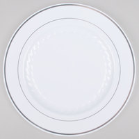 Fineline Silver Splendor 510-WH 10 inch White Plastic Plate with Silver Bands - 120 / Case
