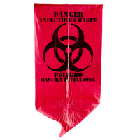 7 Gallon 17 inch X 18 inch Red Isolation Infectious Waste Bag / Biohazard Bag High Density 12 Microns - 1000 / Case