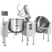 Cleveland TMKDL-150-T 150 Gallon Tilting 2/3 Steam Jacketed Direct Steam Twin Mixer Kettle