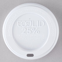 Eco-Products 10, 12, 16, and 20 oz. White Recycled Content Hot Paper Cup Lid - 100 / Pack