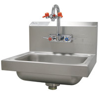 Advance Tabco 7-PS-55 Hand Sink with Emergency Eye Wash Attachment - 17 1/4 inch x 15 1/4 inch