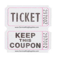 Carnival King White 2-Part Raffle Tickets - 2000 / Roll
