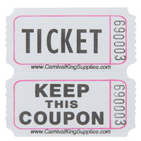 Carnival King White 2-Part Raffle Tickets   - 2000/Roll