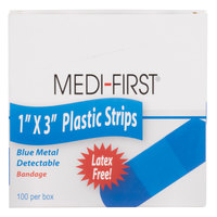 1 inch x 3 inch Blue Plastic Adhesive Strip Bandage - 100 / Box