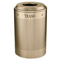 Rubbermaid DRR24T Silhouettes Desert Pearl Round Designer Recycling Receptacle - Trash 26 Gallon (FGDRR24TDP)