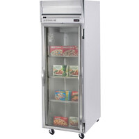 Beverage Air HFS1-1G-LED 1 Section Glass Door Reach-In Freezer with LED Lighting - 24 cu. ft., SS Front and Interior