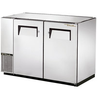 True TBB-24GAL-48-S 48 inch Stainless Steel Under Bar Refrigerator with Galvanized Top and Two Solid Doors - 24 inch Deep