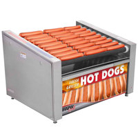 APW Wyott HR-50SBW 35 inch Hot Dog Roller Grill with Slanted Chrome Plated Rollers and Bun Warmer - 120V