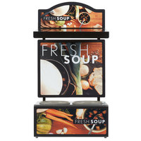 Vollrath 7203202 Twin 7 Qt. Well Soup Merchandiser Base with Menu Board, Canopy Light, and Tuscan Graphics - 120V, 700W
