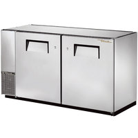 True TBB-24GAL-60-S 60 inch Stainless Steel Under Bar Refrigerator with Galvanized Top and Two Solid Doors - 24 inch Deep