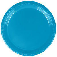 Creative Converting 28313111 7 inch Turquoise Blue Plastic Plate - 20 / Pack