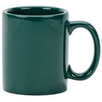 Tuxton BGM-1202 DuraTux 12 oz. Hunter Green China C-Handle Mug - 24/Case