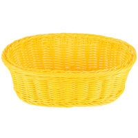 Tablecraft HM1174YE 9 1/4 inch x 6 1/4 inch x 3 1/4 inch Yellow Oval Rattan Basket   - 6/Pack