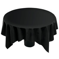 Hoffmaster 210435 82 inch x 82 inch Linen-Like Black Table Cover - 12 / Case