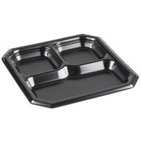 Genpak SQ13 Premium 10 inch Black Laminated Square 3 Compartment Foam Plate 400 / Case