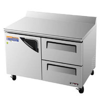 Turbo Air TWF-48SD-D2 48 inch Super Deluxe One Door / Two Drawer Worktop Freezer - 12 cu. ft.