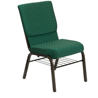 Green Dot Patterned 18 1/2 inch Wide Church Chair with Communion Cup Book Rack - Gold Vein Frame