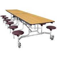 National Public Seating MTS10 10 Foot Mobile Cafeteria Table with MDF Core and 12 Stools