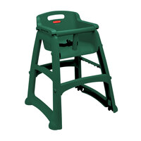 Rubbermaid FG780508DGRN Green Sturdy Chair Restaurant High Chair with Wheels - Assembled