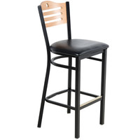 Lancaster Table & Seating Natural Finish Bar Height Bistro Chair with 2 inch Padded Seat