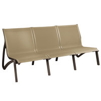 Grosfillex US003599 Sunset Cognac / Fusion Bronze Resin Outdoor Sling Sofa - 2/Pack