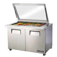 True TSSU-48-18M-B-FGLID-HC 48 inch 2 Door Mega Top Refrigerated Sandwich Prep Table with Glass Lid