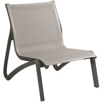 Grosfillex US001288 Sunset Solid Gray / Volcanic Black Resin Outdoor Sling Lounge Chair - 4/Pack