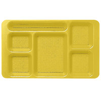 Cambro 1596CP145 (2 x 2) 9 inch x 15 inch Yellow Six Compartment Serving Tray - 24/Case