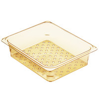 Cambro H-Pan 23CLRHP150 1/2 Size Amber High Heat Colander Pan - 3 inch Deep