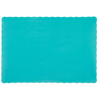 10 inch x 14 inch Teal Colored Paper Placemat with Scalloped Edge - 1000 / Case