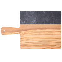 American Metalcraft OWBB15 10 inch x 9 inch Olive Wood and Black Marble Serving Board
