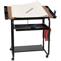 Flash Furniture NAN-JN-2739-GG 30 inch x 24 inch Adjustable Drawing and Drafting Table with 3/4 inch Cherry Melamine Top, Laminate Finish, and Dual Wheel Casters