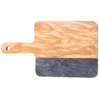 American Metalcraft OWBB9 5 5/8 inch x 5 1/4 inch Olive Wood and Black Marble Serving Board