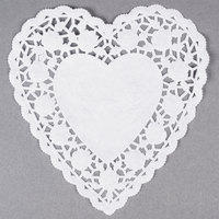 White 6 inch Paper Heart Doilies - 1000/Case