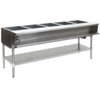Eagle Group AWTP5 Gas Five Pan Sealed Well Water Bath Steam Table with Galvanized Legs and Safety Pilot