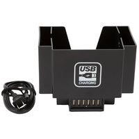 Black Plastic Bar Caddy with Six USB Charging Ports - 6 inch x 8 inch x 6 inch - 120V