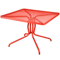 BFM Seating DVN2432GE Nexus 24 inch x 32 inch Grenadine Steel Dining Table with Umbrella Hole