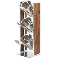 Cal-Mil 3715-49 Mid-Century 3 Compartment Vertical Wooden Organizer with Chrome Accents - 6 1/2 inch x 6 1/2 inch x 19 1/2 inch