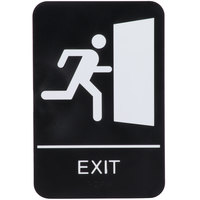 ADA Exit Sign with Braille - Black and White, 9 inch x 6 inch