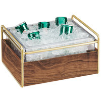 Cal-Mil 3702-10-46 Mid-Century Brass Metal and Wood Ice Housing with Clear Plastic Pan - 11 inch x 14 inch x 7 inch