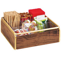Cal-Mil 3707-46 Mid-Century 9 Compartment Wood Condiment Organizer with Brass Accents - 12 inch x 12 inch x 4 1/2 inch