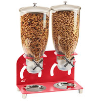 Cal-Mil 3510-2-14 3.5 Liter Red Double Canister Cereal Dispenser - 12 1/4 inch x 6 inch x 18 1/2 inch