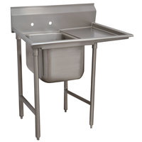 Advance Tabco T9-1-24-18R Regaline One Compartment Stainless Steel Commercial Sink with Right Drainboard - 43 inch Long, 16 inch x 20 inch x 12 inch Compartment