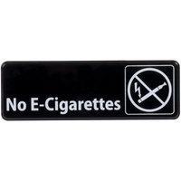 No E-Cigarettes Sign - Black and White, 9 inch x 3 inch