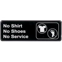 No Shirt, No Shoes, No Service Sign - Black and White, 9 inch x 3 inch