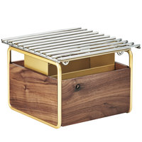 Cal-Mil 3711-46 Mid-Century 12 inch x 12 inch Chafer Alternative with Wind Guard and Walnut and Brass Frame