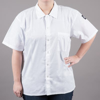 Chef Revival CS006WH-XL Size 48-50 (XL) White Customizable Short Sleeve Cook Shirt - Poly-Cotton Blend