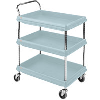 Metro BC2030-3DMB Utility Cart with Three Deep Ledge Shelves and Microban Protection 32 3/4 inch x 21 1/2 inch Slate Blue